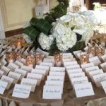Here is a great arrangement: circular and alphabetical. Several people can look at one time and also find their place card quickly.